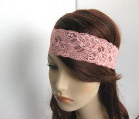 Stretch Lace Head Wrap Rose Coral Pink Flowers Headband Women's Hairband Hair Accessories