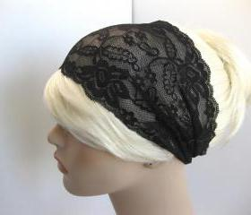 Wide Stretch Lace Headband Black Floral Head Wrap Women's Hairband Hair Accessory