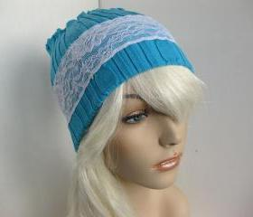 Ear Warmer Stretchy Sweater Lace Head Warmer Headband Dreadband Head Wrap Upcycled Winter Hat Teal Blue Women's Accessories