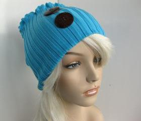 Natural Coconut Shell Button Head Ear Warmer Hat Sweater Stretch Headband Upcycled Head Wrap Dread Wrap Teal Blue Women's Accessories