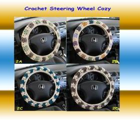 Crochet Steering Wheel Cover, Wheel Cozy - (CSWC 2A--2D)