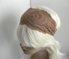 Mocha Coffee Brown Stretch Lace Headband Head Wrap Women's Hairband Hair Accessory