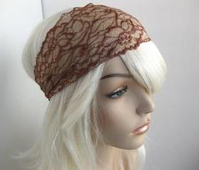 Wide Lace Headband Beige Copper Brown Head Wrap Women's Hairband Head Covering Hair Accessory