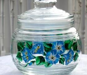 Blue Flowers Glass Jar