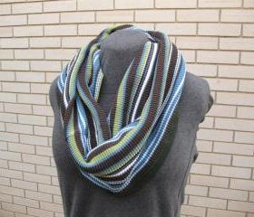 Women's Sweater Cowl Neckwarmer Circle Infinity Scarf Upcycled Blue Brown Green White Stripes Winter Accessories
