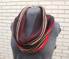 Sweater Cowl Women's Neck Warmer Upcycled Circle Infinity Scarf Red Brown Tan Striped Scarf Eco Friendly Winter Accessory