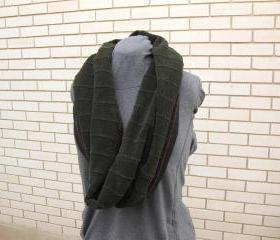 Oversized Upcycled Women's Cowl Neckwarmer Circle Infinity Scarf Shawl Shrug Wrap Deep Forest Green Eco Friendly Winter Fashion Accessory