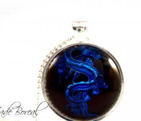 Blue Dragon glass pendant necklace