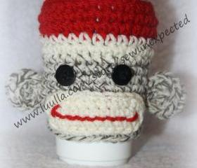 Sock Monkey coffee cup hugger