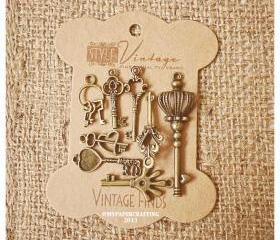 Mixed Key Brass Charm Metal Set 3