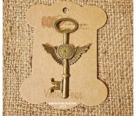 Wing Key Brass Charm Metal