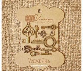 Mixed Key Brass Charm Metal Set 4