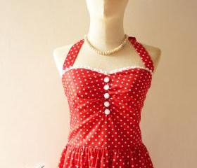 Red Polka Dot Party Dress Vintage Inspired Party Tea Dress Bridesmaid Holiday Polka Dot Unique Handmade Dress SIZE S
