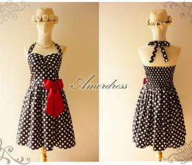 Black White Dot Party Dress SIZE S // Garden Dress // Cocktail // Birthday // Anniversary // Homecoming // Cheerful Every Day Party Dress..Once Upon A Time