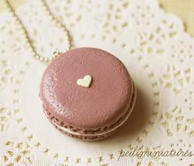  Macaron Necklace - Deep Mauve Macaron Food Jewelry 