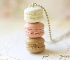  Macaron Jewelry - Trio Macarons Necklace - Nude Pink Macarons 