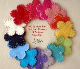 50x 8cm Stitched Wool Felt Flowers