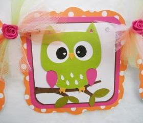 Owl banner, baby shower banner, green, orange, pink, white, its a girl,