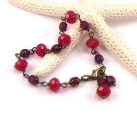 Va Va Voom. Red Beaded Bracelet