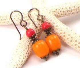 Orange and Red Earrings