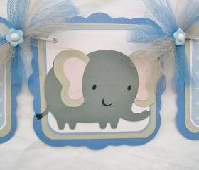 Elephant, baby shower banner, blue, grey, white, its a boy