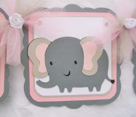 Elephant baby shower banner, its a girl, pink, grey, white