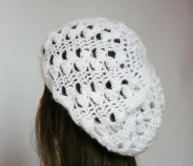 White christmas crochet hat Lace crochet mohair beret hat