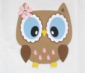 Owl die cut, owl with open eyes, owl decor