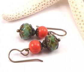 Dangle Earrings. Czech Glass Earrings