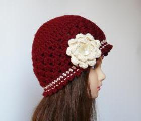 Claret vanilla crocheted hat with tree ruffled floral