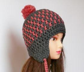 Pom pom plaid crocheted hat Grey pink plaid cap