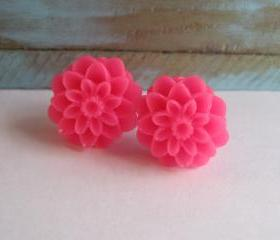 Hot Pink Dahlia Earrings