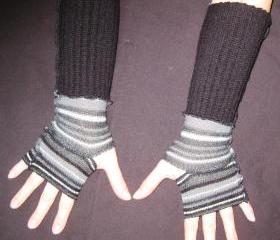 Eco Friendly Fingerless Gloves Hand Warmers Black Gray Stripes Upcycled Size XSmall / Small Upcycled Winter Accessory