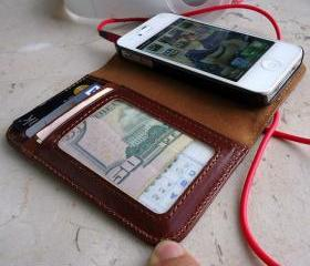 Genuine Leather Flip Case Wallet for iPhone 5