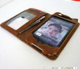 Genuine Leather Book Case Wallet for iPhone 5 / iPod Touch 5th