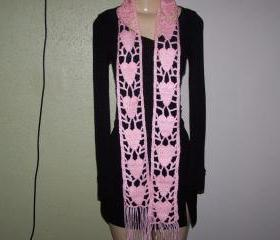Hand Crocheted Pink Scarf(FREE SHIPPING)