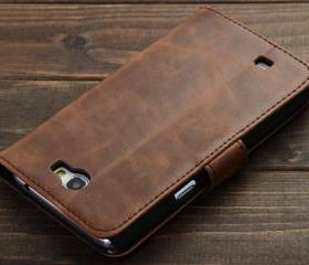Brown Leather Wallet Case with ID Card Slot for Samsung Galaxy Note 2