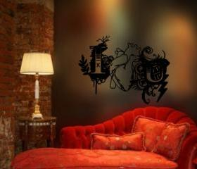 Vinyl Wall Decal I Heart You U Goth Grunge Valentines Day Decor 22.5'W x16.5'H 22250