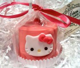 Gourmet Chocolate Dipped (JUMBO) Marshmallows Hello Kitty Inspired , Perfect Party Favors, Birthdays