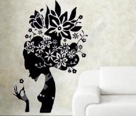BLACK FLOWER GIRL WALL DECAL