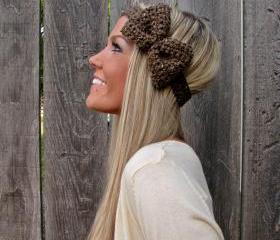 Barley Bow Headband with Natural Vegan Coconut Shell Buttons - Adjustable