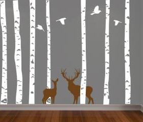 Birch Forest, Deer and Birds Vinyl Wall Decal - FREE SHIPPING