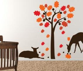 Deer relaxing under the Acorn Tree - Vinyl Wall Decal - FREE SHIPPING 86'x72'