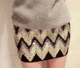 Sexy Shinning ZigZag Pattern Skirt in Black