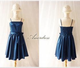 Midnight Blue Party Dress.. Elegant Vintage Inspired Party Prom Bridesmaid Wedding Cocktail Dinner Evening Dress Romantic Princess Romance