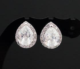 Wedding Jewelry Bridal Jewelry Bridal Earrings Clear White LUX Cubic Zirconia Tear drops Ear Posts