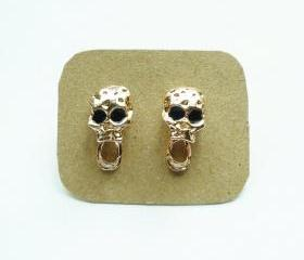 The Scream Skull Light Rose Solid Gold/Pink Gold Plated Earring/Ear Stud- Gift under 10