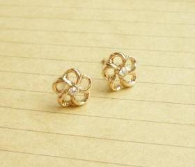 The Flower Light Rose Solid Gold/Pink Gold Plated Earring/Ear Stud - 10 mm - Gift under 15