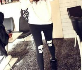 Stylish Skull Pattern Skinny Leggings (Black)