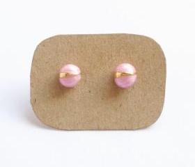 Pink Bug Stud Earrings - Gift under 10